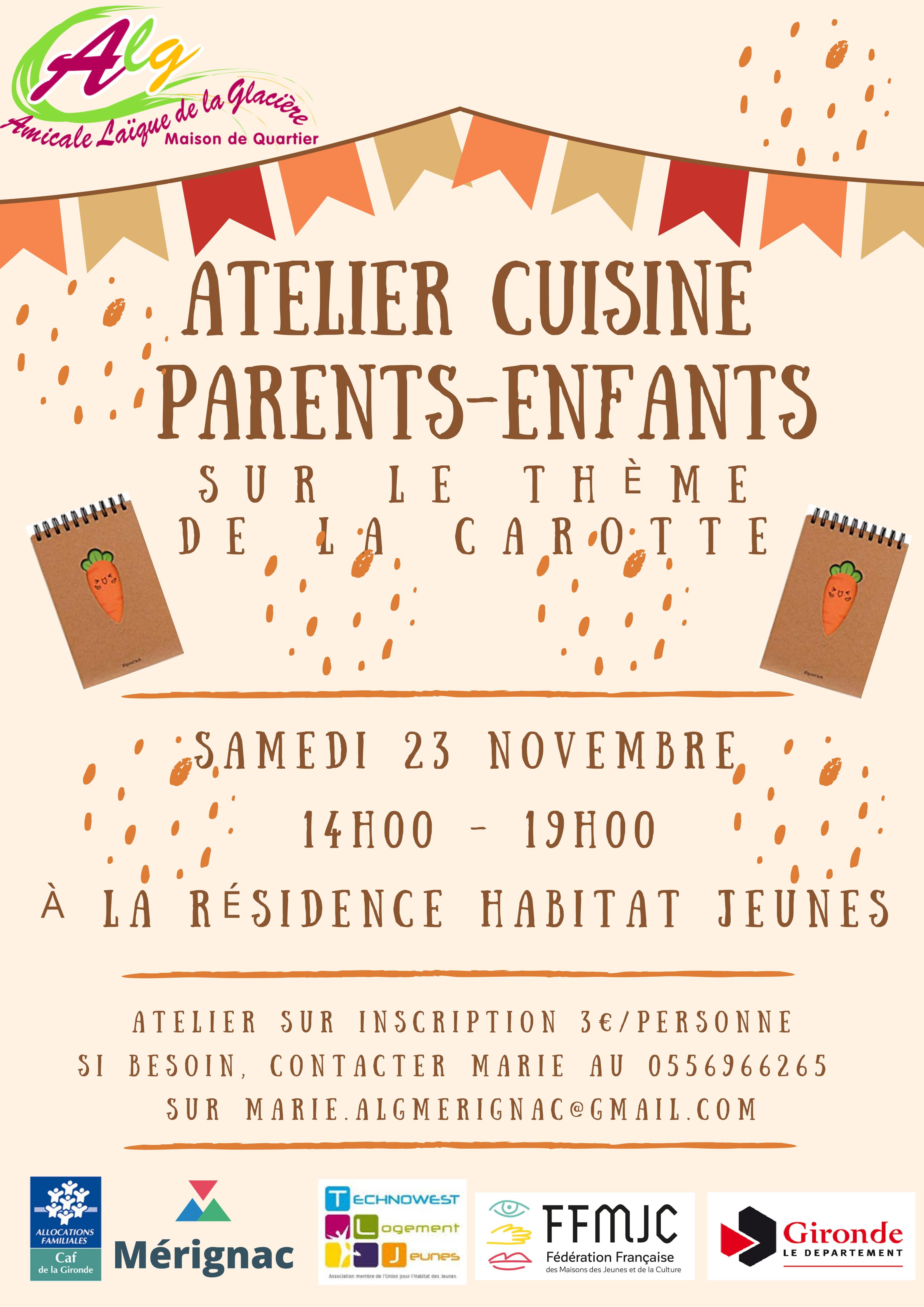 Atelier cuisine parents-enfant samedi 23 novembre 2019