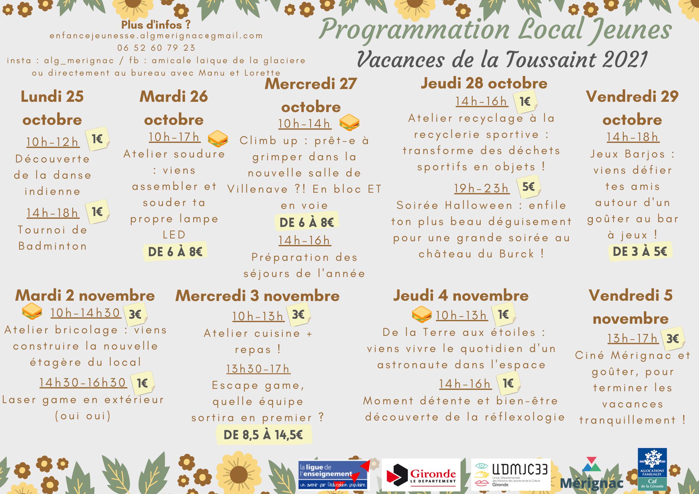 You are currently viewing Programme des vacances de la Toussaint pour les ados collégiens et lycéens !